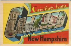 Greetings from Concord New Hampshire Vintage Linen Postcards 1920 - 1930s Litho by postcardsintheattic on Etsy