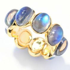 Dallas Prince 8 x 6mm Oval Blue Moonstone Eternity Band Ring