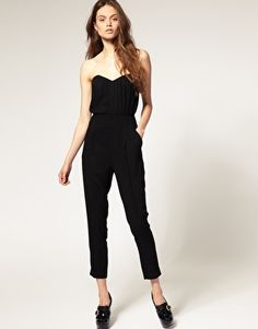 Black Silk Pleated Bustier Jumpsuit from ASOS. I think I want to wear this for my birthday with some big amazing vintage drop earrings.