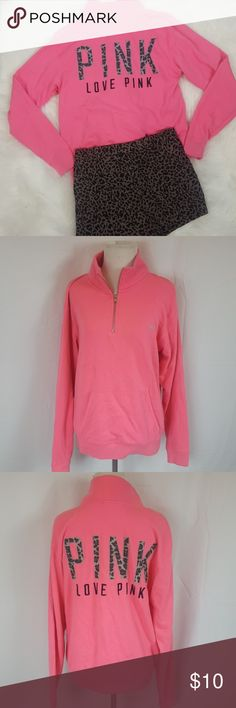 Victoria's Secret PINK zippered sweatshirt. Victoria's Secret PINK zippered sweatshirt. Cheetah print PINK logo stiched on the back. Size XS PINK Jackets & Coats