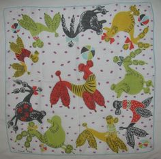 VINTAGE - CARL TAIT DESIGNED & SIGNED Handkerchief Fun Retro Mod Poodles Excel. in Clothing, Shoes & Accessories | eBay