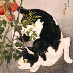 """For #InternationalCatDay, a deftly depicted feline ready to pounce on its prey 🐱🍅 #MFAH #JapaneseArt  Takahashi Hiroaki, """"Cat Prowling Around a Staked Tomato Plant"""" (detail) 1931, #woodblock print, MFAH, gift of Stephen and Stephanie Hamilton in memory of Leslie A. Hamilton"""