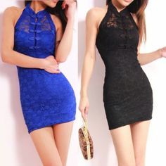 Bodycon Slim NightClub Sexy Lace Tight Women's Short Dress