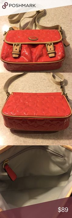 Coach Embossed Patent Leather Crossbody Color is Papaya Tan. Great, like new condition. Adjustable Tan Strap. Goldtone hardware. Coach Bags Crossbody Bags