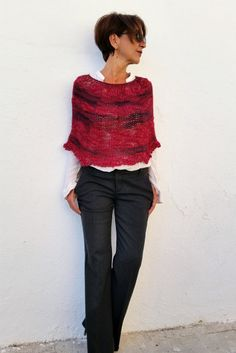 Fall/Winter knitwear, hand knitted capelet in the round. Love this color!!!
