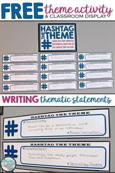 Understanding and identifying theme is a higher-order skill that often leaves many students scratching their heads.  Use these tips, examples, and resources from Presto Plans to help you along the way.  This free bulletin board and activity helps students differentiate between topic and theme by having them write a thematic statement in the form of a social media post (140 characters or less) with a relevant topic hashtag.
