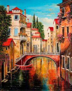 Watercolor Art Landscape, Landscape Art, Landscape Paintings, Venice Painting, Paris Painting, Beautiful Nature Wallpaper, Beautiful Landscapes, Venice City, Africa Art