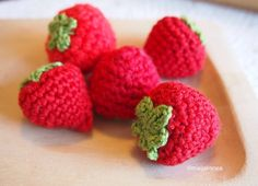 Crochet Food, Knit Crochet, Crochet Ideas, Food Patterns, Raspberry, Fruit, Knitting, Crocheting, Stitching