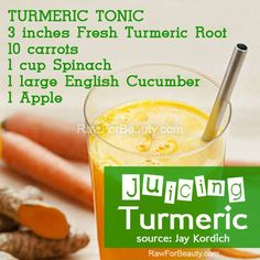 JUICING Turmeric!  TURMERIC Tonic  3 inches Fresh Turmeric Root 10 Carrots 1 cup Spinach 1 large English Cucumber 1 Apple  This is a Simple, yet powerful tonic that, when combined with carrots and spinach help accelerate the benefits of the turmeric.  Fresh Turmeric looks almost identical to fresh Ginger Root. The taste is quite different,