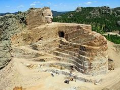 Carved granite face of Crazy Horse is seen in South Dakota . a work in progress. Places To Travel, Places To See, Crazy Horse Memorial, South Dakota, Monument Valley, Mount Rushmore, National Parks, Indiana, Horses