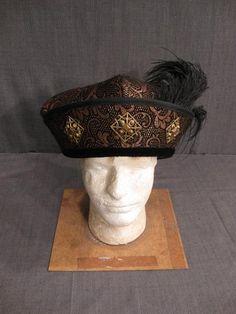 11001416 Hat Mens Tudor copper black brocade H22.75.JPG