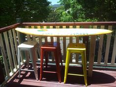 Reclaimed surfboard bar table- Got the surfboard!! Just need the bar stools! Love it by the pool tis summer!