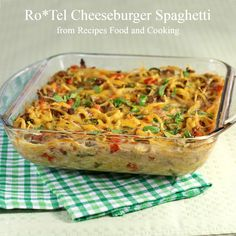 Ro Tel Cheeseburger Spaghetti - Recipes Food and Cooking. Used hot rotel in place of Jalapeños. Used more mozzarella than cheddar. Easy Casserole Recipes, Beef Casserole, Casserole Dishes, Beef Dishes, Food Dishes, Main Dishes, Tasty Dishes, Meat Recipes, Mexican Food Recipes