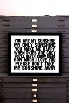 You Are My Sunshine  hand pulled screen print by IScreenYouScreen -- I love when my son sings this song.