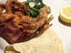 Softshell Crab, Meyer Lemon, and Herbs. One of the third courses on the menu at Pujol in Mexico City. Read the review on our site!  Pujol 2.0 Mexico City Distrito Federal D.F. Restaurant Review World's 50 Best Latin America's 50 Best Restaurants Chef Enrique Olvera Fine Dining Lunch Tasting Menu Mexican Food Foodie Gastronomy