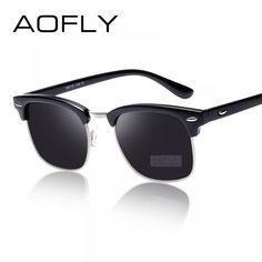 AOFLY CLASSIC Half Metal Sunglasses Men Women Brand Designer Glasses G15  Coating Mirror Sun Glasses Fashion 2d99d928442d