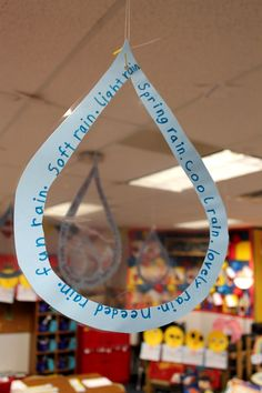 """We had fun celebrating poetry and Shel Silverstein this past week. After reading """"Lazy Jane"""" by Shel we wrote our own concrete poems about water. To publish we wrote our poems on a raindrop shape and laminated them to look like real raindrops. Teaching Poetry, Teaching Language Arts, Teaching Writing, Writing Activities, Teaching Ideas, Student Teaching, Writing Ideas, Teaching Resources, Poetry Unit"""