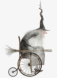 Witch in a Wheelchair Art Illustration Holidays Halloween, Vintage Halloween, Halloween Crafts, Halloween Decorations, Origami Halloween, Halloween Pictures, Desenhos Tim Burton, Illustration Art, Illustrations