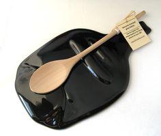 Flat bottle spoon rest with wooden spoon- flattened Tia Maria bottle, melted bottle