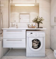 How to put the washing machine in the bathroom - Badrenovierung - Badezimmer Bathroom Cupboards, Laundry In Bathroom, Bathroom Plumbing, Diy Bathroom Remodel, Bathroom Renovations, Bathroom Furniture, Bathroom Interior, Lavatory Design, Timeless Bathroom