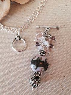 Pink Swirl Beaded Dangle Necklace