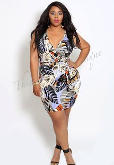 Tropical Print Sleeveless Wrap Dress, $20.00 by Thick Chic Boutique