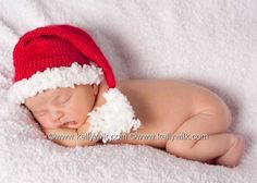 Newborn baby Christmas Santa elf hat girl boy unisex photography props 0-3