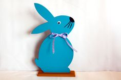 Ostertischdeko - Osterhase als Tafel Holz ♥ Ostern Osterdeko Hase - ein Designerstück von handgezaubert bei DaWanda