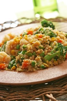 Shrimp-Vegetable Quinoa Fried Rice - Serves 4 to 6  Healthy and Gluten Free