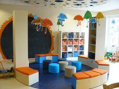Ideeën voor een echte kleuterklas, met onthaal hoek Classroom Layout, Classroom Design, Kindergarten Classroom, Classroom Decor, Kindergarten Design, Future School, Library Inspiration, Home Daycare, Daycare Ideas