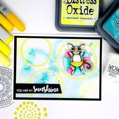 "Card Size: 4 ¼"" x 5 ¾""Uniquely Creative Products UsedFlamazing stamps and fussy cutting dies, Nesting Sun dies, Sunshine pearls, patterned paper packOther Products UsedPeacock feathers and Squeezed Lemonade Distress Oxide, white embo. Pool Toys, Distress Oxides, Soul Art, Social Media Pages, You Are My Sunshine, Copic Markers, Art Journal Pages, Card Sizes, Pattern Paper"