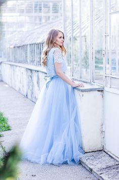 Modest in Light Blue Tulle Girls Bridesmaid Dresses, Princess Wedding Dresses, Bridesmaids, Blue Tulle Skirt, Gowns With Sleeves, Modest Outfits, Beautiful Dresses, Ball Gowns, Lace