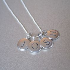 Necklace with 4 initials charms for each family members initials