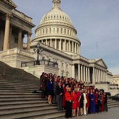 The 61 House Democratic women hold a photo op in front of the Capitol Thursday (Photo: Frank Thorp / NBC News) #NBCPolitics