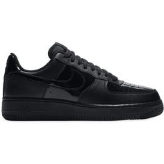Nike Women Air Force 1 Leather Sneakers ($140) ❤ liked on Polyvore featuring shoes, sneakers, black, rubber sole shoes, black trainers, leather upper shoes, nike sneakers and perforated leather shoes