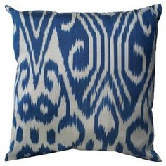 Add a lovely touch to your sofa or loveseat with this eye-catching cotton pillow, showcasing an abstract motif in blue.  Product: PillowConstruction Material: Cotton cover and poly fillColor: BlueFeatures:  HandmadeInsert is included