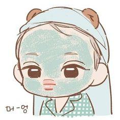 Kai <credits to owner> Exo Stickers, Cute Stickers, Exo Fanart, Exo Cartoon, Kai Arts, Kai Exo, Kokobop Exo, Exo Anime, Cute Love Pictures