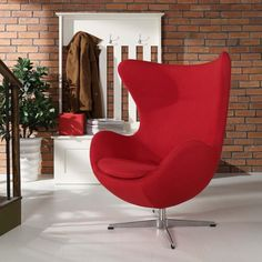 GLOVE WOOL LOUNGE CHAIR IN RED - Mocofu