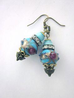 Venetian Foil Glass Bead Earrings by JeepersKeepers on Etsy, $27.00