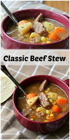 Classic Beef Stew recipe - All the comfort, none of the frills. This is a good old fashioned stew full of beef, carrots, potatoes and flavor!