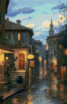 Romantic Evening in Eze, France Cross Stitch pattern PDF - Instant Download! by PenumbraCharts on Etsy