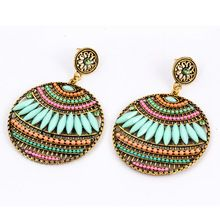Hot sale fashion Bohemia charms womens vintage dangle earrings Exaggeration Feather beads big drop earrings jewelry Best Gift(China (Mainland))