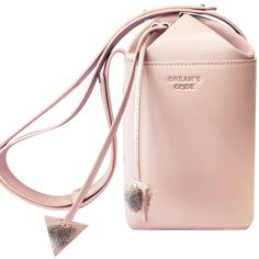 Dream's Code - Pastel Pink Flake Shoulder Bag (39130 RSD) ❤ liked on Polyvore featuring bags, handbags, shoulder bags, shoulder handbags, pink bucket bag, leather purses, pink purse and embroidered leather purse