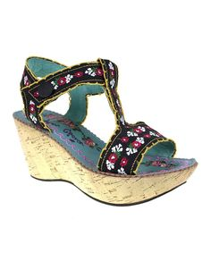 fa210798b5c Look at this Black Floral Once in a Blue Moon Wedge on  zulily today!