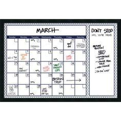 Alcott Hill Blue Quatrefoil Glass Dry Erase Board Calendar