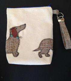 canvas pouch / wristlet / purse  Dachshund by littlepeepsbysuzyd, $22.00