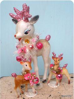 vintage deers Xmas figures