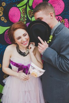 using photobooth props in your wedding portraits! love the piggy mask :) Photo by Jillian McGrath