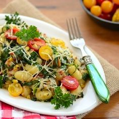 Gnocchi with Collard Greens, Bacon, Grilled Corn, Tomatoes, and Parmesan Cheese...A complete meal in one single plate!