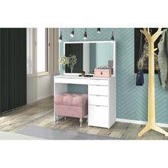 Orren Ellis Mcnabb Vanity with Mirror Vanity Room, Vanity Set, Vanity Ideas, Home Office Design, House Design, Modern Bedroom, Bedroom Decor, Purple Rooms, White Vanity
